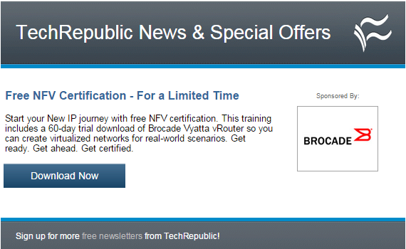 Brocade offering Free NFV Certification ($650 value)