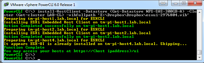Automate the Install of Embedded Host Client for ESXi fling on all hosts in a cluster
